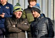 27 October 2019; Donegal Manager Declan Bonner and player Ryan McHugh on the terraces during the Donegal County Senior Club Football Championship Final Replay match between Gaoth Dobhair and Naomh Conaill at Mac Cumhaill Park in Ballybofey, Donegal. Photo by Oliver McVeigh/Sportsfile