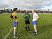 27 October 2019; Referee David Gough with team captains David Dalton of Summerhill and Ciarán Ó Fearraigh of Ratoath during the coin toss prior to the Meath County Senior Club Football Championship Final match between Ratoath and Summerhill at Páirc Tailteann in Navan, Co Meath. Photo by Seb Daly/Sportsfile