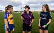 27 October 2019; Referee Cathy Forde with team captains Rosemarie Bermingham of Sarsfields, left, and Amy Connolly of Foxrock-Cabinteely ahead of the Leinster Ladies Football Senior Club Championship Final match between Foxrock-Cabinteely and Sarsfields at Coralstown-Kinnegad GAA in Kinnegad, Co. Westmeath. Photo by Ben McShane/Sportsfile