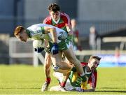 27 October 2019; Ryan Moffett of Killoe Emmet Og in action against Justin Barrett and Eoin Monaghan of Garrycastle during the AIB GAA Football Leinster Senior Club Championship Round 1 match between Garrycastle and Killoe Emmet Og at TEG Cusack Park in Mullingar, Westmeath. Photo by Michael P Ryan/Sportsfile