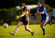 27 October 2019; Noelle Healy of Mourneabbey scores a point despite the attention of Louise Ryan of Ballymacarbry during the Munster Ladies Football Senior Club Championship Final match between Ballymacarbry and Mourneabbey at Galtee Rovers GAA Club, in Bansha, Tipperary. Photo by Harry Murphy/Sportsfile