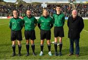 27 October 2019; Referee David Gough, second left, with match officials prior to the Meath County Senior Club Football Championship Final match between Ratoath and Summerhill at Páirc Tailteann in Navan, Co Meath. Photo by Seb Daly/Sportsfile