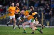 27 October 2019; Brendan O'Sullivan of South Kerry is tackled by Gavin White of Dr. Crokes resulting in a free late in extra time during the Kerry County Senior Club Football Championship semi-final match between South Kerry and Dr Crokes at Fitzgerald Stadium in Killarney, Kerry. Photo by Brendan Moran/Sportsfile