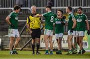 27 October 2019; Gaoth Dobhair players surround referee Jimmy White during the Donegal County Senior Club Football Championship Final Replay match between Gaoth Dobhair and Naomh Conaill at Mac Cumhaill Park in Ballybofey, Donegal. Photo by Oliver McVeigh/Sportsfile