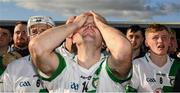 27 October 2019; Tullaroan's former inter county star Tommy Walsh and team mates react as  Eugene Aylward, who died a few weeks back in a car accident, is mentioned from the podium by their team captain after the Kilkenny Intermediate Hurling Club Championship Final match between Thomastown v Tullaroan at UPMC Nowlan Park in Kilkenny. Photo by Ray McManus/Sportsfile