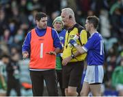 27 October 2019; Naomh Conaill Manager Martin Regan speaking to Refere Jimmy White after the Donegal County Senior Club Football Championship Final Replay match between Gaoth Dobhair and Naomh Conaill at Mac Cumhaill Park in Ballybofey, Donegal. Photo by Oliver McVeigh/Sportsfile