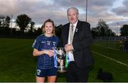 27 October 2019; Foxrock-Cabinteely captain Amy Connolly is presented the cup by from Dominic Leech, Leinster LGFA President, following the Leinster Ladies Football Senior Club Championship Final match between Foxrock-Cabinteely and Sarsfields at Coralstown-Kinnegad GAA in Kinnegad, Co. Westmeath. Photo by Ben McShane/Sportsfile