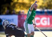 27 October 2019;  Eugene Magee of Ireland  celebrates his side's goal, scored byJohn McKee, during the FIH Men's Olympic Qualifier match between Canada and Ireland at Rutledge Field, in West Vancouver, British Columbia, Canada. Photo by Darryl Dyck/Sportsfile