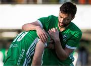 27 October 2019; Chris Cargo of Ireland, right, consoles teammate John McKee after losing to Canada in a shootout during the FIH Men's Olympic Qualifier match at Rutledge Field, in West Vancouver, British Columbia, Canada. Photo by Darryl Dyck/Sportsfile