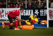 27 October 2019; Ireland goalkeeper David Fitzgerald allows a shootout goal to Gordon Johnston of Canada during the FIH Men's Olympic Qualifier match at Rutledge Field, in West Vancouver, British Columbia, Canada. Photo by Darryl Dyck/Sportsfile