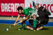 27 October 2019; John McKee of Ireland scores a shootout goal against Canada goalkeeper David Carter during the FIH Men's Olympic Qualifier match at Rutledge Field, in West Vancouver, British Columbia, Canada. Photo by Darryl Dyck/Sportsfile