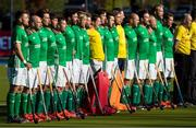 27 October 2019; Ireland players sing the national anthem before the FIH Men's Olympic Qualifier match against Canada at Rutledge Field, in West Vancouver, British Columbia, Canada. Photo by Darryl Dyck/Sportsfile