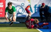 27 October 2019; Sean Murray of Ireland, centre, collides with James Kirkpatrick of Canada during the second half of the FIH Men's Olympic Qualifier match at Rutledge Field, in West Vancouver, British Columbia, Canada. Photo by Darryl Dyck/Sportsfile
