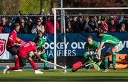 27 October 2019; Keegan Pereira of Canada fails to score as Lee Cole of Ireland, second right, and Conor Harte, right, defend during the second half of the FIH Men's Olympic Qualifier match at Rutledge Field, in West Vancouver, British Columbia, Canada. Photo by Darryl Dyck/Sportsfile
