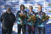27 October 2019; On the podium are, 3rd placed Gladys Ganiel, North Belfast Harriers A.C., 1st placed Aoife Cooke, Eagle A.C., 2:32:34, and 2nd placed Ann-Marie McGlynn Letterkenny A.C., following today's 2019 KBC Dublin Marathon. 22,500 runners took to the Fitzwilliam Square start line today to participate in the 40th running of the KBC Dublin Marathon, making it the fifth largest marathon in Europe. Photo by Ramsey Cardy/Sportsfile