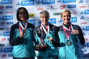 27 October 2019; On the podium are, from left, 3rd placed Gladys Ganiel, North Belfast Harriers A.C., 1st placed Aoife Cooke, Eagle A.C., 2:32:34, and 2nd placed Ann-Marie McGlynn Letterkenny A.C., following today's 2019 KBC Dublin Marathon. 22,500 runners took to the Fitzwilliam Square start line today to participate in the 40th running of the KBC Dublin Marathon, making it the fifth largest marathon in Europe. Photo by Ramsey Cardy/Sportsfile