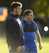 28 October 2019; Seán Cronin, right, and Will Connors during Leinster Rugby squad training at Rosemount in UCD, Dublin. Photo by Ramsey Cardy/Sportsfile