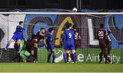 28 October 2019; Darragh Power of Waterford, left, heads to score his side's second goal, despite the efforts of Galway United goalkeeper Sam O'Gorman, during the SSE Airtricity Under-19 League Final match between Galway United and Waterford at Eamonn Deacy Park in Galway. Photo by Sam Barnes/Sportsfile