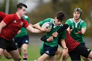 30 October 2019; Alan Kehoe of South East Area is tackled by Conall O'Callaghan and Ronan Giles of North East Area during the 2019 Shane Horgan Cup Second Round match between South East Area and North East Area at Tullamore RFC in Tullamore, Offaly. Photo by Matt Browne/Sportsfile