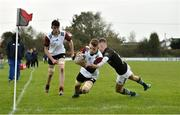 30 October 2019; Ross Ashmore of Midlands Area scores a try despite the tackle of Taylor O'Sullivan of  Metro Area during the 2019 Shane Horgan Cup Second Round match between Midlands Area and Metro Area at Tullamore RFC in Tullamore, Offaly. Photo by Matt Browne/Sportsfile