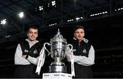 30 October 2019; Shamrock Rovers' players Sean Kavanagh and Ronan Finn with the extra.ie FAI Cup during an FAI Cup Finals Media Day at the Aviva Stadium in Dublin. Photo by Harry Murphy/Sportsfile