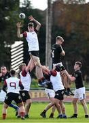 30 October 2019; Jamie Rowan of Midlands Area takes the ball in the lineout against Cian McMahon of  Metro Area during the 2019 Shane Horgan Cup Second Round match between Midlands Area and Metro Area at Tullamore RFC in Tullamore, Offaly. Photo by Matt Browne/Sportsfile
