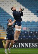 31 October 2019; Ryan Baird, right, and Peter Dooley during the Leinster Rugby captain's run at the RDS Arena in Dublin. Photo by Seb Daly/Sportsfile
