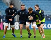 31 October 2019; Ryan Baird, second left, with team-mates, from left, Max Deegan, Rory O'Loughlin and Hugh O'Sullivan during the Leinster Rugby captain's run at the RDS Arena in Dublin. Photo by Seb Daly/Sportsfile