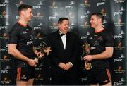 1 November 2019; Enda McDonagh, PwC Partner, centre, with PwC GAA GPA Hurler of the Year Séamus Callanan, left, of Tipperary and PwC GAA GPA Footballer of the Year Stephen Cluxton of Dublin at the PwC All-Stars 2019 at the Convention Centre in Dublin. Photo by Seb Daly/Sportsfile