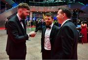1 November 2019; Mayo footballer Aiden O'Shea, left, interviews team-mate Chris Barrett, centre, and Damien Lawler of GAA ahead of the PwC All-Stars 2019 at the Convention Centre in Dublin. Photo by David Fitzgerald/Sportsfile