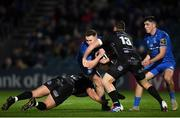 1 November 2019; Rory O'Loughlin of Leinster is tackled by Connor Edwards, left, and Adam Warren of Dragons during the Guinness PRO14 Round 5 match between Leinster and Dragons at the RDS Arena in Dublin. Photo by Eóin Noonan/Sportsfile