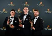 1 November 2019; Dublin footballers, from left, Brian Howard, Brian Fenton and Jack McCaffrey with their PwC All-Star awards at the PwC All-Stars 2019 at the Convention Centre in Dublin. Photo by Seb Daly/Sportsfile