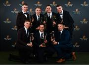 1 November 2019; Tipperary hurlers, back row, from left, Ronan Maher, Noel McGrath, Séamus Callanan, Brian Hogan and front row, from left, Brendan Maher, Cathal Barrett and Pádraic Maher with their PwC All Star awards during the PwC All-Stars 2019 at the Convention Centre in Dublin. Photo by Seb Daly/Sportsfile