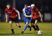 1 November 2019; Raffael Cretaro of Finn Harps in action against Kevin Farragher and Luke Heeney of Drogheda United during the SSE Airtricity League Promotion / Relegation Play-off Final 2nd Leg between Finn Harps and Drogheda United at Finn Park in Ballybofey, Donegal. Photo by Oliver McVeigh/Sportsfile