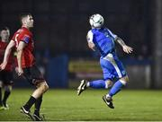1 November 2019; Raffael Cretaro of Finn Harps in action against Kevin Farragher of Drogheda United during the SSE Airtricity League Promotion / Relegation Play-off Final 2nd Leg between Finn Harps and Drogheda United at Finn Park in Ballybofey, Donegal. Photo by Oliver McVeigh/Sportsfile