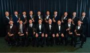 1 November 2019; PwC All-Star hurling team of the year, back row, from left, Diarmaid O'Keefe of Wexford, Pádraic Maher of Tipperary, Lee Chin of Wexford, John McGrath of Tipperary, TJ Reid of Kilkenny, Colin Fennelly of Kilkenny, Aaron Gillane of Limerick, Pádraig Walsh of Kilkenny, Patrick Horgan of Cork, Cathal Barrett of Tipperary and front row, from left, Ronan Maher of Tipperary, Brendan Maher of Tipperary, Séamus Callanan of Tipperary,  GPA CEO Paul Flynn, Uachtarán Cumann Lúthchleas Gael John Horan, PwC Senior Partner Enda McDonagh, Brian Hogan of Tipperary and Seán Finn of Limerick during the PwC All-Stars 2019 at the Convention Centre in Dublin. Photo by Seb Daly/Sportsfile