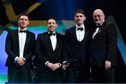 1 November 2019; Dublin footballer Michael Fitzsimons is presented with his PwC All-Star award by Uachtarán Cumann Lúthchleas Gael John Horan in the company of PwC Senior Partner Enda McDonagh and GPA CEO Paul Flynn during the PwC All-Stars 2019 at the Convention Centre in Dublin. Photo by Brendan Moran/Sportsfile