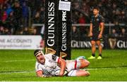 1 November 2019; Rob Herring of Ulster scores a try during the Guinness PRO14 Round 5 match between Ulster and Zebre at the Kingspan Stadium in Belfast. Photo by John Dickson/Sportsfile