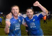 1 November 2019; Keith Cowan and Gareth Harkin of Finn Harps celebrates after the SSE Airtricity League Promotion / Relegation Play-off Final 2nd Leg between Finn Harps and Drogheda United at Finn Park in Ballybofey, Donegal. Photo by Oliver McVeigh/Sportsfile