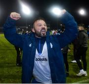 1 November 2019; Raffael Cretaro of Finn Harps celebrating after the SSE Airtricity League Promotion / Relegation Play-off Final 2nd Leg between Finn Harps and Drogheda United at Finn Park in Ballybofey, Donegal. Photo by Oliver McVeigh/Sportsfile