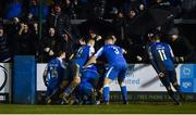 1 November 2019; Harry Ascroft of Finn Harps, hidden, celebrates with team-mates after scoring his side's second goal during the SSE Airtricity League Promotion / Relegation Play-off Final 2nd Leg between Finn Harps and Drogheda United at Finn Park in Ballybofey, Donegal. Photo by Oliver McVeigh/Sportsfile