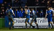 1 November 2019; Harry Ascroft of Finn Harps, centre, celebrates after scoring his side's second goal during the SSE Airtricity League Promotion / Relegation Play-off Final 2nd Leg between Finn Harps and Drogheda United at Finn Park in Ballybofey, Donegal. Photo by Oliver McVeigh/Sportsfile