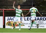 2 November 2019; Darragh Nugent of Shamrock Rovers, left, celebrates after scoring his side's third goal with Eric Abulu during the SSE Airtricity Enda McGuill Cup Final match between Bohemians and Shamrock Rovers at Dalymount Park in Dublin. Photo by Harry Murphy/Sportsfile