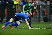2 November 2019; Daniel Sloss of Scotland in action against Shane Conway of Ireland during the U21 Hurling Shinty International 2019 match between Ireland and Scotland at the GAA National Games Development Centre in Abbotstown, Dublin. Photo by Piaras Ó Mídheach/Sportsfile