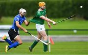 2 November 2019; Mark Kehoe of Ireland is tackled by Iain Richardson of Scotland during the U21 Hurling Shinty International 2019 match between Ireland and Scotland at the GAA National Games Development Centre in Abbotstown, Dublin. Photo by Piaras Ó Mídheach/Sportsfile