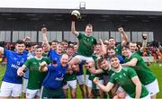 2 November 2019; Ireland captain Shane Conway is held aloft by his team-mates as they celebrate after the U21 Hurling Shinty International 2019 match between Ireland and Scotland at the GAA National Games Development Centre in Abbotstown, Dublin. Photo by Piaras Ó Mídheach/Sportsfile