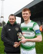 2 November 2019; Republic of Ireland Under-19 head coach Tom Mohan presents Darragh Nugent of Shamrock Rovers with his player of the match award following the SSE Airtricity Enda McGuill Cup Final match between Bohemians and Shamrock Rovers at Dalymount Park in Dublin. Photo by Harry Murphy/Sportsfile