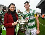 2 November 2019; Aisling Lavelle of SSE Airtricity presents Shamrock Rovers Captain Andrew Spain with the trophy following the SSE Airtricity Enda McGuill Cup Final match between Bohemians and Shamrock Rovers at Dalymount Park in Dublin. Photo by Harry Murphy/Sportsfile