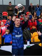 2 November 2019; Scotland captain Stuart MacDonald lifts the cup after the Senior Hurling Shinty International 2019 match between Ireland and Scotland at the GAA National Games Development Centre in Abbotstown, Dublin. Photo by Piaras Ó Mídheach/Sportsfile