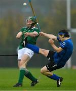 2 November 2019; Willie Dunphy of Ireland in action against Andrew King of Scotland during the Senior Hurling Shinty International 2019 match between Ireland and Scotland at the GAA National Games Development Centre in Abbotstown, Dublin. Photo by Piaras Ó Mídheach/Sportsfile